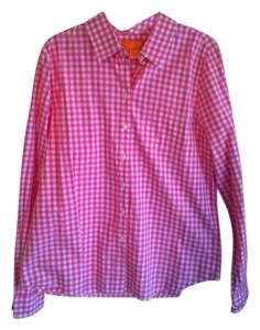 Joe Fresh Button Down Shirt Pink and White