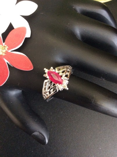Other 14k White Gold Diamond And Ruby Marquis Ring