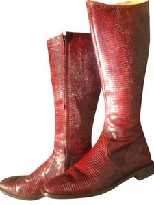 Cognac Exotic Knee High Lizard Boots