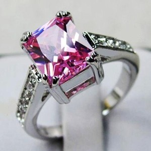 Pink Sapphire 14kt White Gold Filled Engagement Ring Size 6