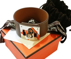 Hermès Hermes Brand New Kelly Dog Wide Leather Cuff Bracelet