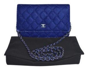 Chanel Woc Velvet Wallet On A Chain Black Hardware Cross Body Bag
