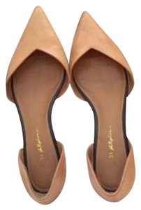3.1 Phillip Lim Devon D'orsay Leather Nude Pointed Toe Tan Pointed Caramel Flats