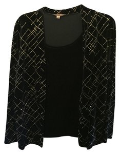 Notations Velvet Camisole Top Black and Gold