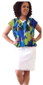 Vince Camuto Top Blue lime green black and white