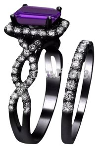 Other Black Gold Filled & Amethyst 2pc Wedding Ring Set