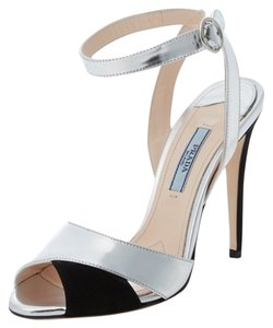 Prada New Never Worn New Silver and Black Sandals