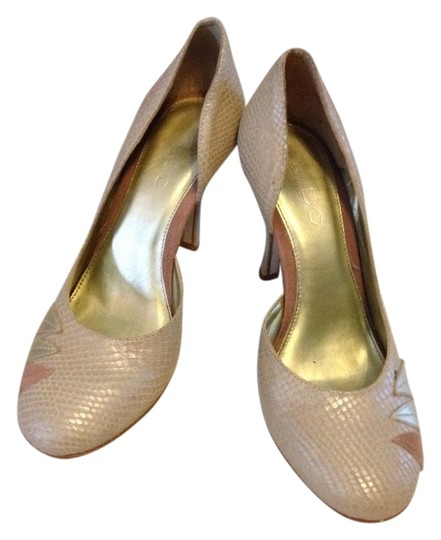 ALDO Faux Leather Snakeskin Metallic Gold Nude Pumps