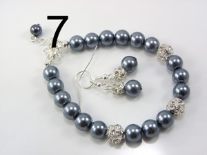 Dark Grey Of 7 Pearl Bridesmaid Bracelets and Earrings Bridesmaid Earrings Rhinestone Jewelry Set