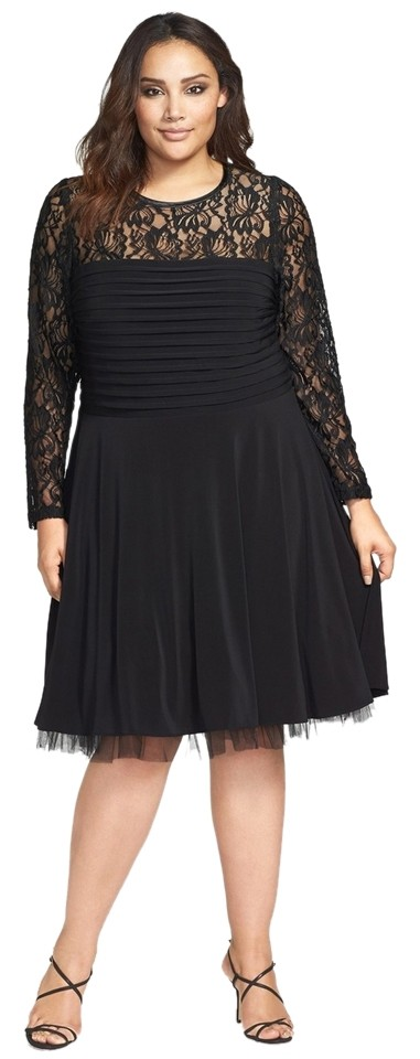 Betsy & Adam Black And Overlay Fit Flare Plus Knee Length Formal ...