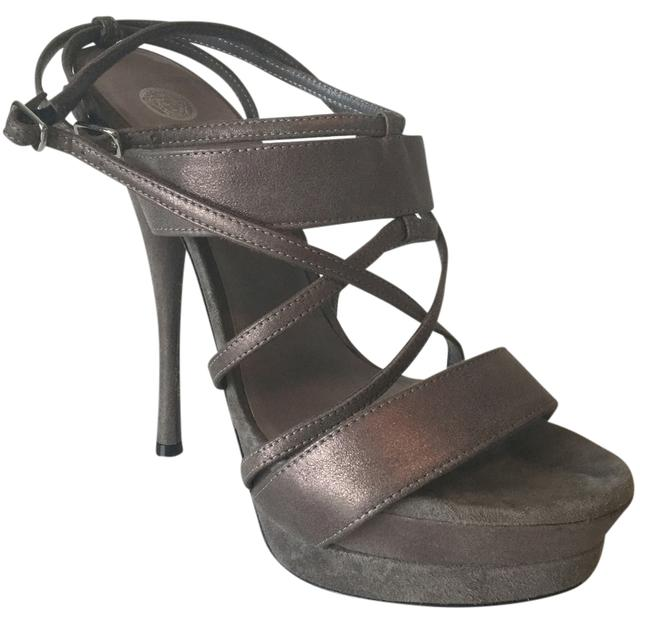 Item - Grey Strappy Leather and Suede Platforms Size US 9 Regular (M, B)