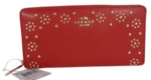 Coach Coach F53636 Women's Border Stud Classic Red Accordion Crossgrain Leather Gold tone Accordion Wallet NEW! $275