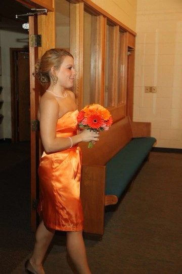 David's Bridal Tangerine Dress