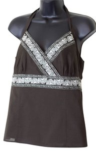 Ann Taylor LOFT Size 12p Petites Embroidered Brown Halter Top