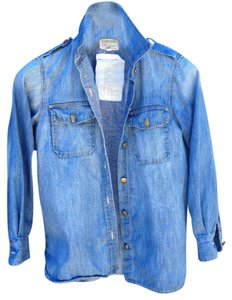 Current/Elliott Denim Jean Shirt Military Style Casual Shirt Blue Jean Shirt Button Down Shirt Denim (Chambray)