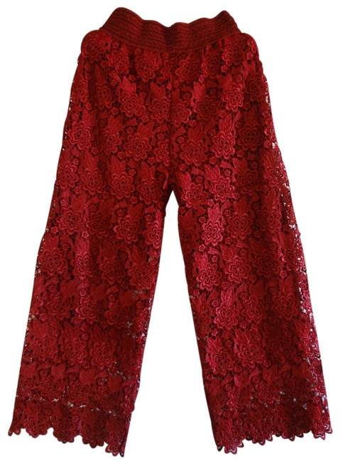 Preload https://img-static.tradesy.com/item/11925661/red-lace-wide-leg-pants-size-os-one-size-0-2-650-650.jpg