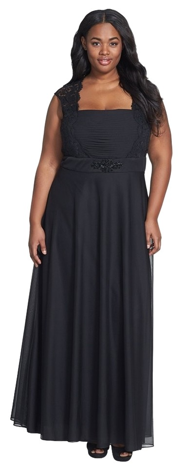 Xscape Black Embellished Chiffon Knit Gown Plus Long Formal Dress