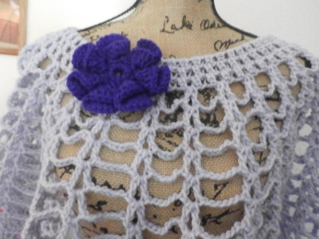 Other New unique Hand knit crochet handmadesweater wrap LAVANDER WITH PURPLE FLOWER Image 1