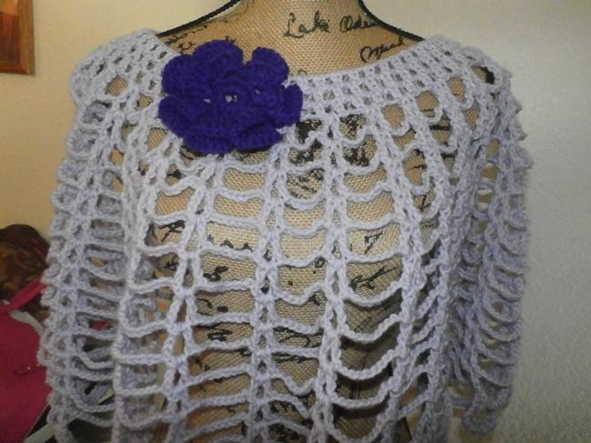 Other New unique Hand knit crochet handmadesweater wrap LAVANDER WITH PURPLE FLOWER Image 2