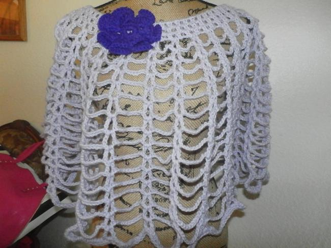 Other New unique Hand knit crochet handmadesweater wrap LAVANDER WITH PURPLE FLOWER Image 3