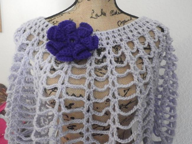 Other New unique Hand knit crochet handmadesweater wrap LAVANDER WITH PURPLE FLOWER Image 4
