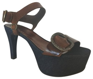 Pedro Garcia Blue Denim and Brown Leather Platforms