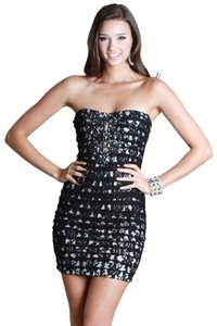 Nikibiki short dress Black Lace Tiered Beaded on Tradesy