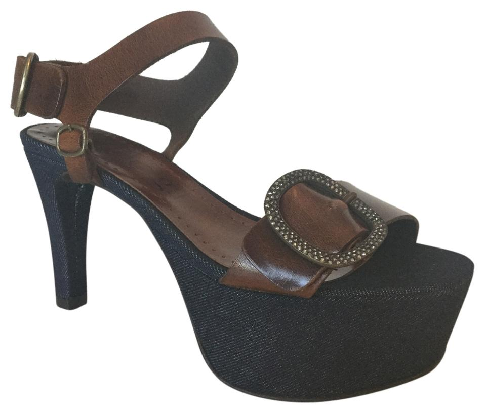 Pedro Garcia Blue Denim Olivia and Brown Leather Olivia Denim Platforms b989ca