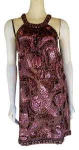 Shulami Sequin Satin Beaded Pink Trapeze Above Knee Dress