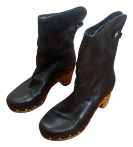 UGG Australia Boot Leather Fur Chunky Black Boots