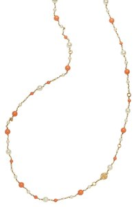 Tory Burch Tory Burch Evie Coral Convertible Rosary Pearl Station Necklace 16k GP