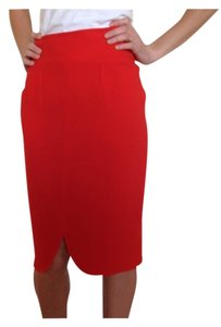 Max Mara High Waisted Wool Pockets Pencil Skirt Red