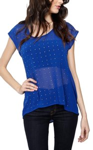 Other Rhinestone Chiffon Sheer Sexy Top Blue