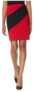 The Limited Exact Stretch Pencil Stretchy Diag Zipper Skirt red and black