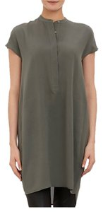 Vince Cap Sleeve Shift Silk Olive Dress