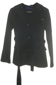Ellen Tracy Raincoat Hooded Button Black Jacket