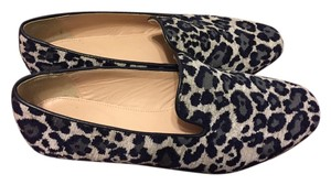 J.Crew Leopard Loafer White Blue Flats