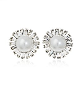 Kenneth Jay Lane Crystal And Pearl Sunburst Earring