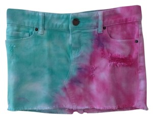 BDG Tye Dye Mini Skirt Tye-Dye Pink and green