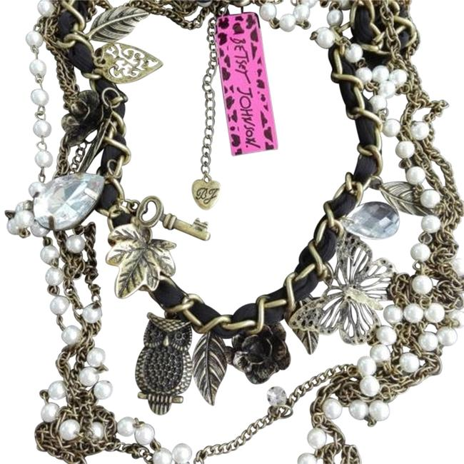 Item - Bronze Antiqued Pearl Black Free Shipping Long Multi Chain Vintage Owl Necklace