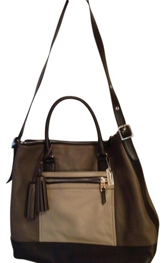 Coach Color-blocking Tote in Black, grey colorblock