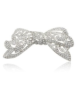 Kenneth Jay Lane Silver Crystal Bow Brooch/Pin