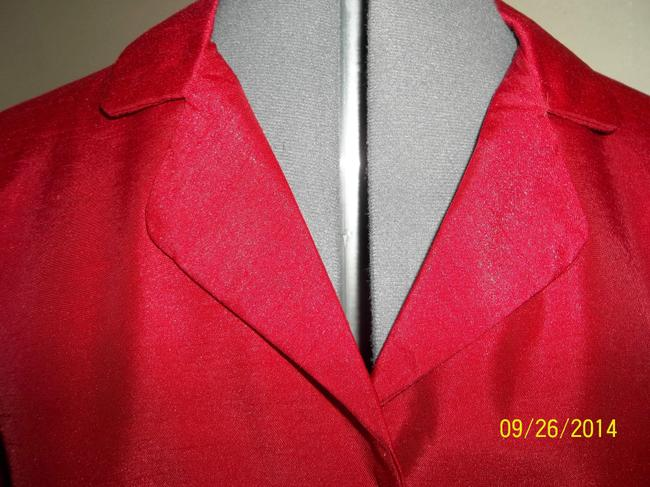 Kathie Lee Collection Cuffs Sheen 3/4 Sleeves Button Down Shirt Red