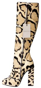 Gucci 366079 White / Natural / Black (Leopard Print) Boots