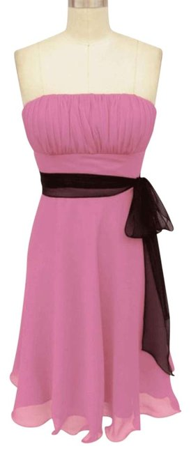Preload https://item4.tradesy.com/images/pink-strapless-chiffon-pleated-bust-w-sash-sizexs-knee-length-formal-dress-size-2-xs-119278-0-0.jpg?width=400&height=650