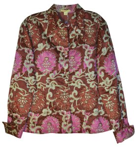 Catherine Malandrino Designer Silk New W/tags Pink, russet and cream exotic floral print Blazer