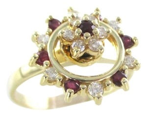 Other 14K YELLOW GOLD 12 GENUINE DIAMOND RING SPINNING RUBY STAR CIRCLE WEDDING BAND