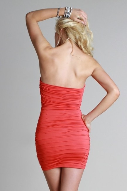 Nikibiki Ruched Strapless Tiered Tube Beaded Dress