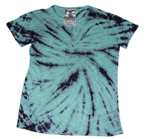 Young Fabulous & Broke 100% Rayon Graphic Print T Shirt Teal and Purple Tie Dye