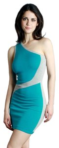 Nikibiki short dress Turquoise One Shoulder Gray Sweater Contrast on Tradesy